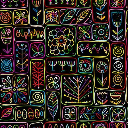 Ilustración de Ethnic floral wall, seamless pattern for your design - Imagen libre de derechos