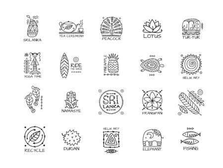 Ilustración de Sri Lanka travel, icons set. Tribal elements for your design - Imagen libre de derechos