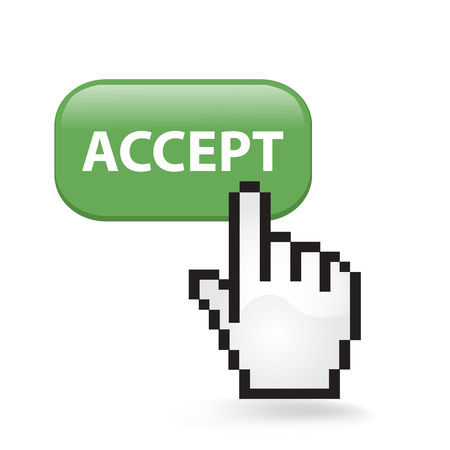 Illustration pour Accept button cursor hand. - image libre de droit