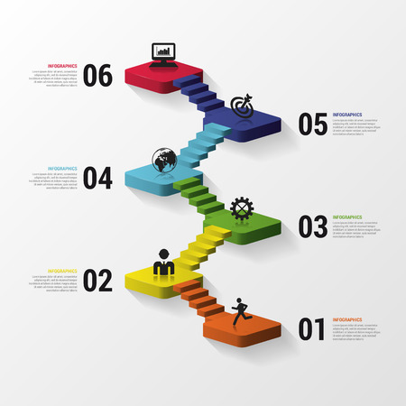 Illustration pour Abstract 3d stairs infographics or timeline template. Vector illustration - image libre de droit