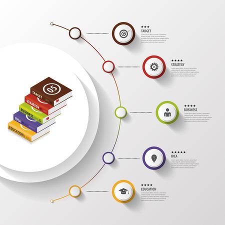 Illustration pour Infographic. Business Books. Colorful circle with icons. Vector - image libre de droit