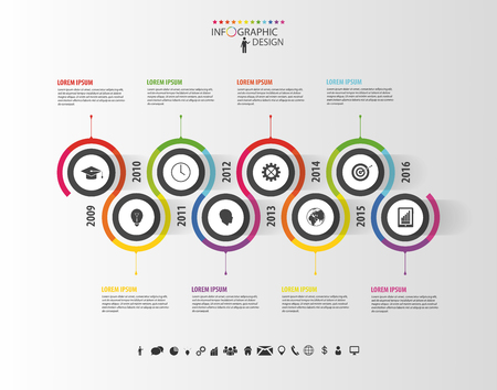 Ilustración de Abstract timeline infographic template. Vector illustration. - Imagen libre de derechos
