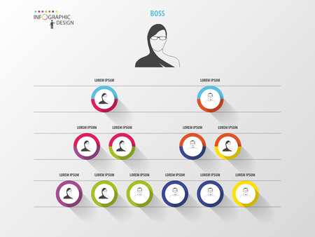 Ilustración de Business structure. Organisation chart. Infographic design. Vector - Imagen libre de derechos