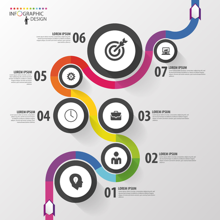 Illustration pour Abstract colorful business path. Timeline infographic template. Vector - image libre de droit