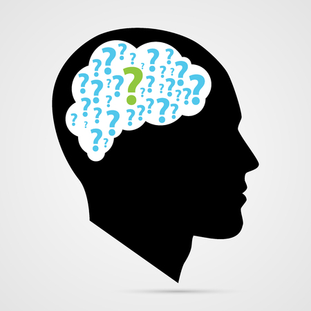 Illustration pour human head with question marks. Vector illustration - image libre de droit