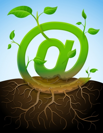 Illustration pour Growing mail symbol like plant with leaves and roots  Stylized plant in shape of at sign in ground  Qualitative vector  EPS-10  illustration about internet, communication services, information technology, email, telecommunication, etc - image libre de droit