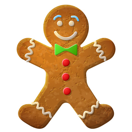 Illustration pour Gingerbread man decorated colored icing, Holiday cookie in shape of man, Qualitative vector  EPS-10  illustration for new year s day, christmas, winter holiday, cooking, new year s eve, food, silvester, etc - image libre de droit