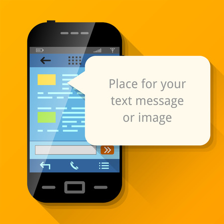 Illustration pour Smartphone with blank message bubble. Dialog box pop up over screen of phone. Qualitative vector illustration about smartphone, communication, mobile technology, notification, application prompting, etc - image libre de droit