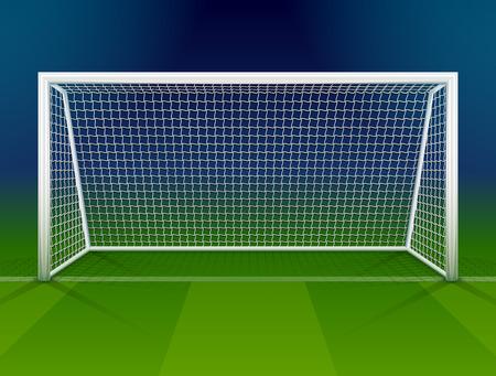 Illustration pour Soccer goalpost with net. Association football goal on field. Qualitative vector illustration for soccer, sport game, championship, gameplay, etc - image libre de droit