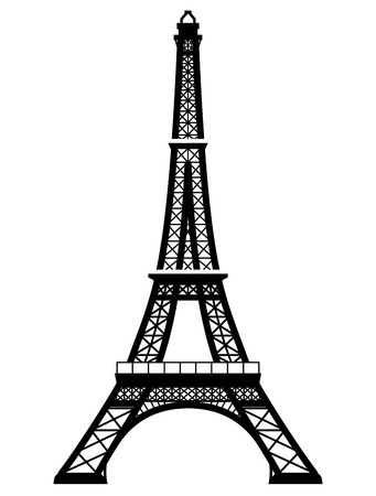 Ilustración de French Eiffel Tower in black-and-white color. Silhouette of Paris landmark. Qualitative vector illustration for travel, france, vacation, sightseeing, paris, tour, etc - Imagen libre de derechos