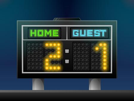 Ilustración de Electronic soccer scoreboard for stadium. Sport screen for association football and other games. Qualitative vector illustration for soccer, sport game, championship, gameplay, etc - Imagen libre de derechos