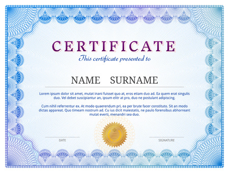 Illustration pour Certificate template with guilloche elements. Blue diploma border design for personal conferment. Qualitative vector layout for award, patent, validation, licence, education, authentication, achievement, etc - image libre de droit