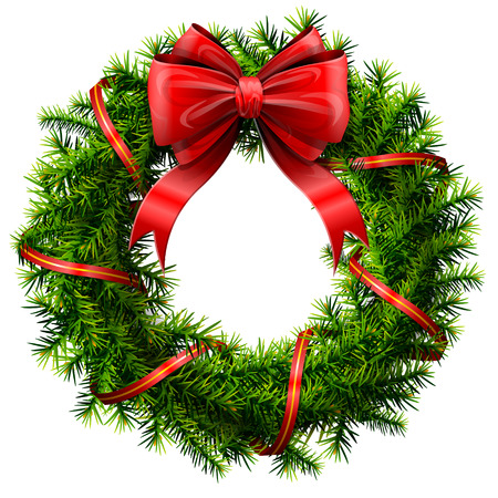 Illustration pour Christmas wreath with red bow and ribbon. Decorated wreath of pine branches isolated on white background. Qualitative vector illustration for new year day, christmas, decoration, winter holiday, design, new year eve, silvester, etc - image libre de droit