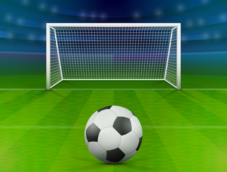 Illustration pour Soccer ball on green field in front of goal post. Association football ball against soccer stadium. Best vector illustration for soccer, sport game, football, championship, gameplay, etc - image libre de droit