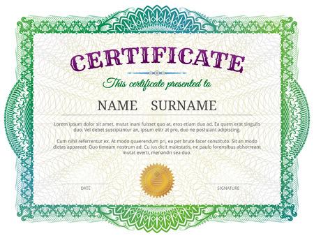 Ilustración de Certificate template with guilloche elements. Green diploma border design for personal conferment. Best vector image for award, patent, validation, license, education, authentication, achievement, etc - Imagen libre de derechos