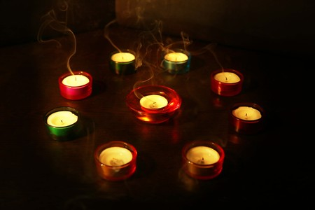 Photo for A group of decorative candle lit during on the Diwali festival. - Royalty Free Image