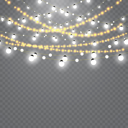 Illustration pour Christmas lights isolated on transparent background. Set of golden xmas glowing garland. - image libre de droit