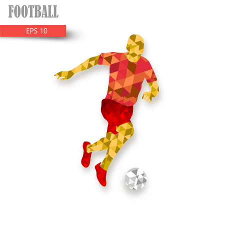 Silhouette of a football player. Dots, lines, triangles, text, color effects and background on a separate layers, color can be changed in one click.