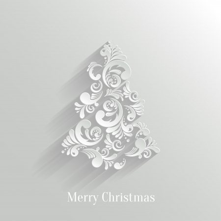 Absrtact Floral Christmas Tree Background, Trendy Design Template