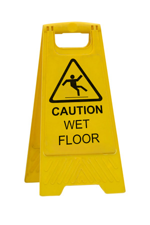 Photo pour Yellow Caution slippery wet floor sign isolated on white background - image libre de droit
