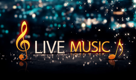 Photo for Live Music Gold Silver City Bokeh Star Shine Blue Background 3D - Royalty Free Image