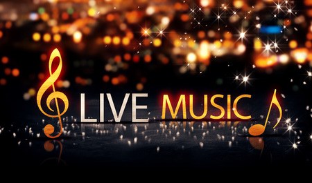 Photo for Live Music Gold Silver City Bokeh Star Shine Yellow Background 3D - Royalty Free Image
