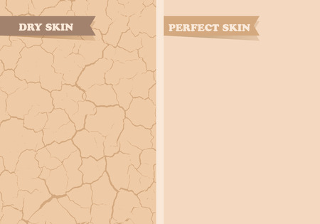 Illustration pour Dry skin, Perfect skin - image libre de droit