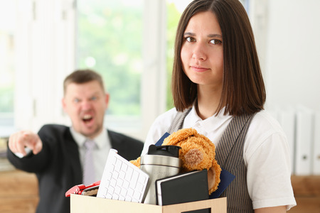 Photo for Angry yelling boss point arm to exit dismissing sad worker with stuff box portrait. Bad news, pack and carry belongings hopeless, human resources, staff reduction, hr get upset, give sack concept - Royalty Free Image