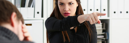 Photo for Angry yelling boss point arm to exit - Royalty Free Image