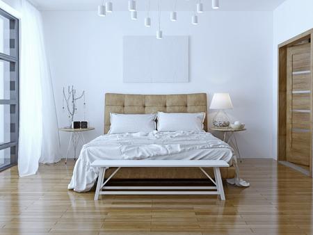 Photo pour Interior design: Big modern Bedroom. 3D render - image libre de droit