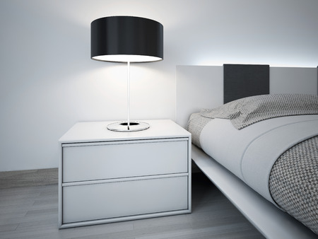 Photo pour Contemporary monochrome bedroom design. Stylish bedside table near bed with neon lights behihd headboard. Lamp with black lampshade. - image libre de droit