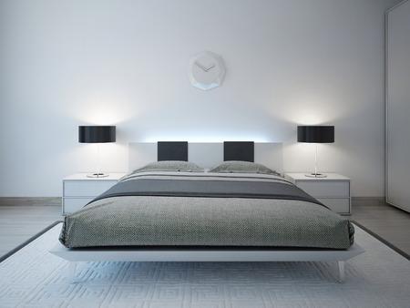 Modern bedroom with advanced lighting furniture. 3D render