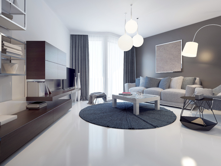Photo pour Idea of contemporary living room. White and grey walls, polished and varnish white concrete flooring. Floor-to-ceiling panoramic windows. 3D render - image libre de droit
