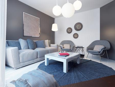 Photo pour Cozy lounge room minimalist style. 3D render - image libre de droit