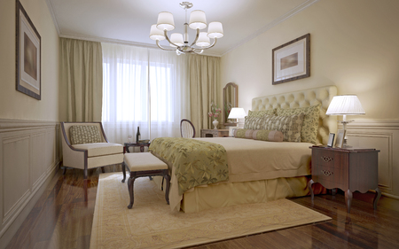 Photo pour Luxury bedroom english style. Inspiration for a traditional bedroom with monotone walls and dark tone hardwood floors. 3D render - image libre de droit