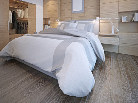 Photo pour Idea of contemporary bedroom. Master bedroom with walk-in closet. White walls with decorative wood panels, hardwood flooring. 3D render - image libre de droit