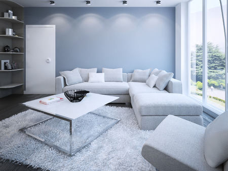 Foto de Contemporary lounge with blue walls. 3D render - Imagen libre de derechos