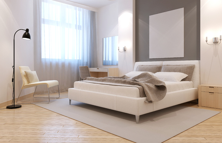 Photo pour Elegant avangard bedroom interior. Bright room with niche behind bed, two sconces above bedside tables, and large light grey carpet. 3D render - image libre de droit