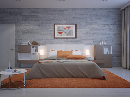 Foto de Front view on cozy bedroom with masonry wallpaper and orange decoration. 3D render - Imagen libre de derechos