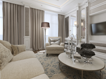 Photo for Luxury living room interior. 3d render - Royalty Free Image