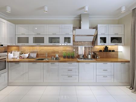 Foto für Contemporary Kitchen Design. 3d render - Lizenzfreies Bild