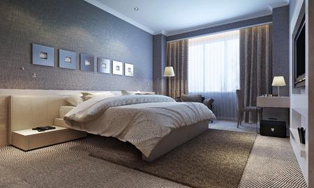 Photo pour bedroom interior, modern style. 3d images - image libre de droit