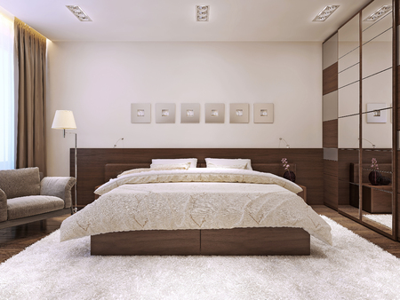 Photo pour Bedroom interior in modern style, 3d images - image libre de droit