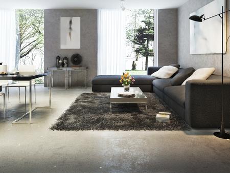 Photo pour Modern interior of living room, 3d images - image libre de droit
