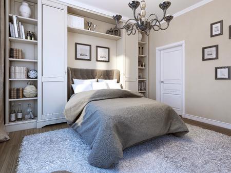 Photo pour Bedroom classical style, 3d image - image libre de droit