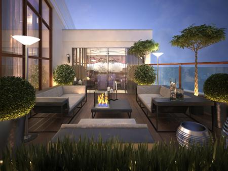 Photo pour roof - terrace in a modern style. 3d render - image libre de droit