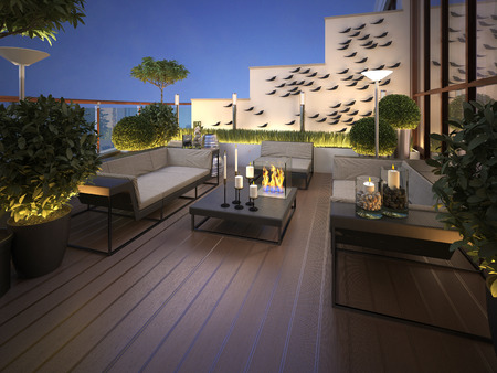 Photo for roof - terrace in a modern style. 3d render - Royalty Free Image