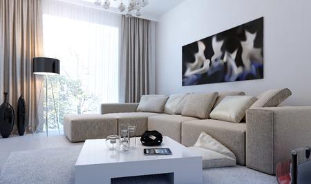 Photo pour Modern interior living room, 3d images - image libre de droit