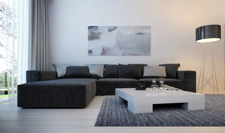 Photo for Modern interior living room, 3d images - Royalty Free Image
