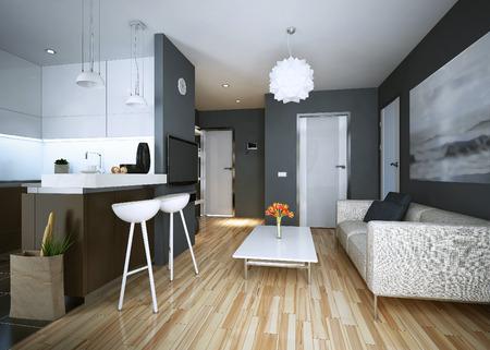 Photo pour Apartment study modern style. 3D images - image libre de droit